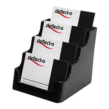 Deflecto 70404 黑色名片座 (4格)