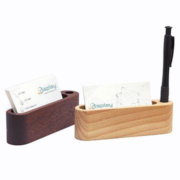 木質卡片座 (附筆插/W130 x D30 x H40mm)