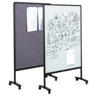 活動式玻璃白板屏風(玻璃面+布面板/W106xH180cm)